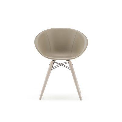 Cadeira GLISS Wood estofada couro